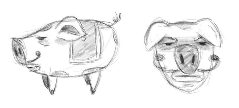 Crayonné cochon 1